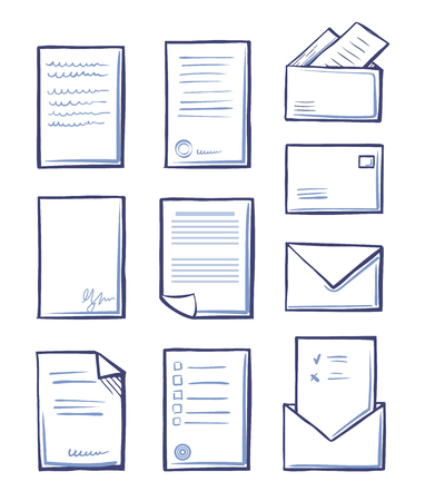 Office paper and messages in envelopes vector. Monochrome sketches outline icons set, pages with signatures and stamps containing information and data