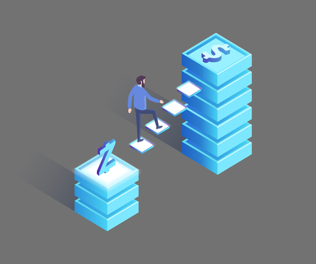 Man walking from Polish Zloty to dollar pedestal, financial choice for future. Earning money in international currency concept 3D isometric icons vector
