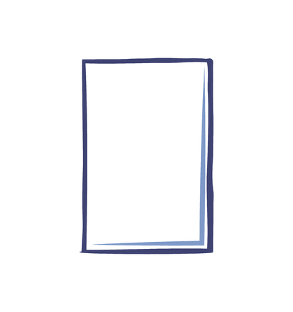 Office paper blank document page isolated icon monochrome sketch outline vector. Empty sheet of paper of squared shape. Piece with no written data