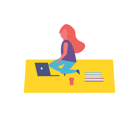 Girl having rest in park sitting on rug cartoon vector icon. Lady silhouette with laptop, paper cup of coffee, pile of books, studying and relaxing