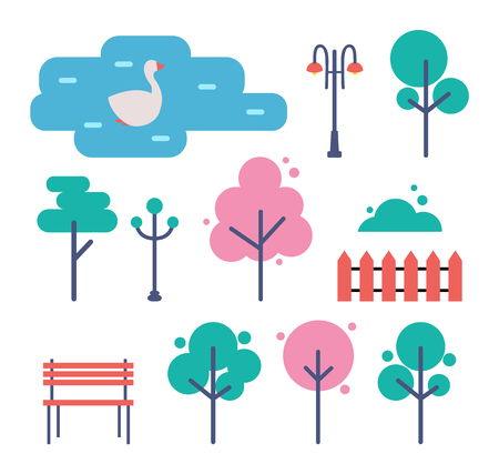 Empty park with trees, bench and street light cartoon vector set. Wooden bank and fence and green plants, bush and shrub, swan swimming in pond icons Ilustração