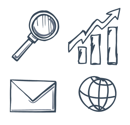 Magnifying glass and message in envelope isolated icons set vector. Paper information in correspondence, rising chart, increasing arrow indicator