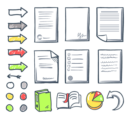 Office Paper and Arrows Isolated Icons Set Vector