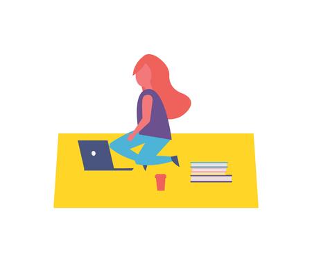 Girl Having Rest Sitting on Rug in Park Cartoon