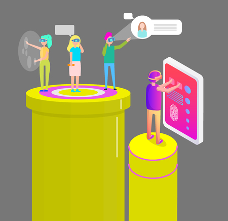 Virtual Reality People Gadgets Vector Illustration