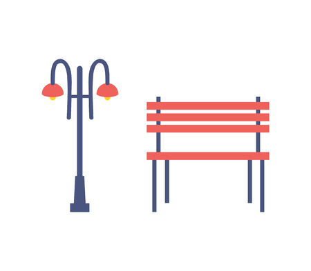 Street Light and Bench Cartoon Isolated Icons Reklamní fotografie