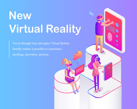New Virtual Reality Poster Vector Illustration Stok Fotoğraf - 113273564