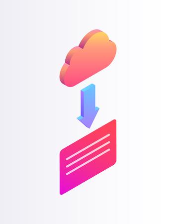 Cloud Upload 3d Isometric Cartoon Vector Banner