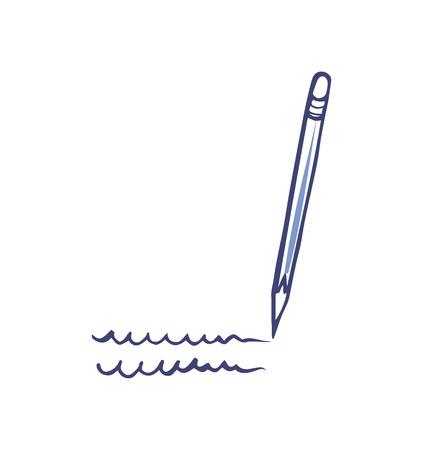 Pen or Pencil Writing Tool Isolated Icon Vector Stok Fotoğraf