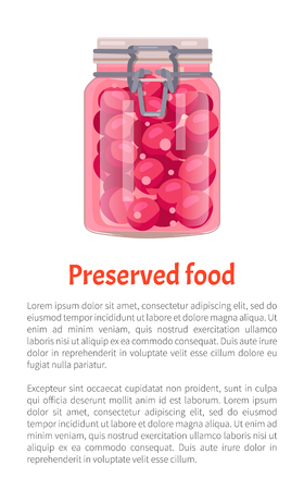 Preserved Food Plums in Jar Vector Illustration Illustration
