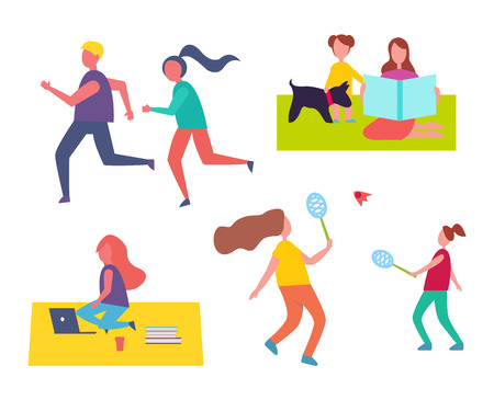 People jogging and playing tennis games isolated icons. Freelancer using laptop and books, sitting on blanket in park. Mother and kid with dog vector