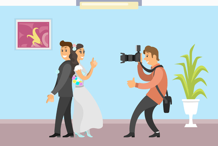 Wedding photo session of newlyweds by photographer. Groom in suit and bride wearing gown, funny spy pose, digital camera vector studio room interior