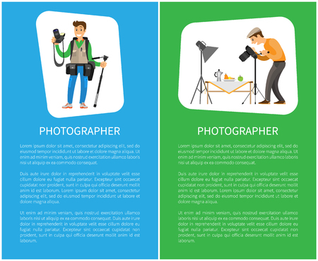 Photographer making shot of still life composition and journalist with tripod. Man with camera taking photo, fruits on table under spotlight vector posters Illustration