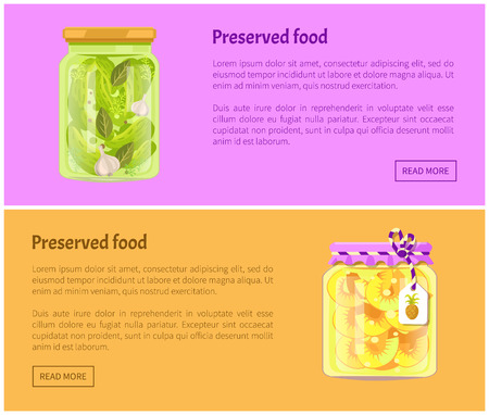 Preserved food banners, vegetable and fruit. Cucumbers with onions, pineapple rings in juice inside jars web page template vector illustrations set. Иллюстрация