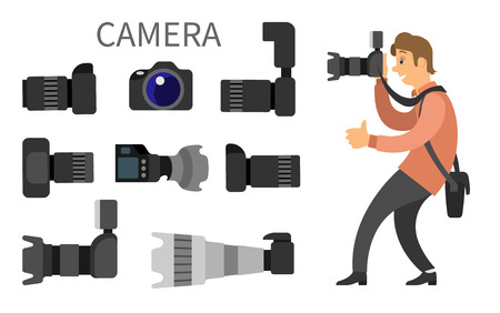 Photographer and high resolution action cameras with lens vector photocameras isolated. Gear with flash and zoom function, photojournalist and tripod