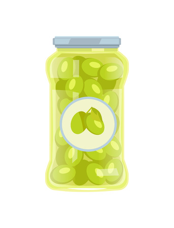 Olives preserved food in glass jar vector icon isolated on white. Conserved green veggies, traditional mediterranean cuisine pickled marinated snack
