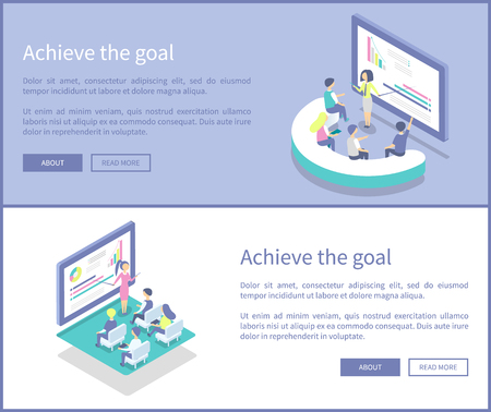 Achieve goal posters set with text sample vector. Information data presentation on screens and whiteboards. Presenters explaining details to workers