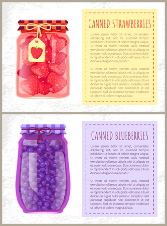 Canned strawberries and blueberries in jars banners set. Preserved berries inside glass containers beside text, conserved food, vector illustrations.