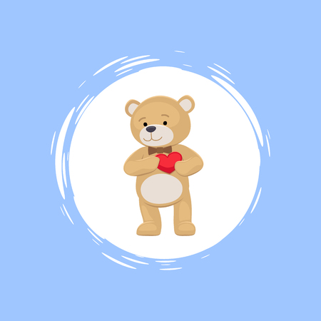 Teddy bear with heart in paws in cartoon style vector banner isolated on pale. Plush beige animal in butterfly necktie cute standing simple design toy