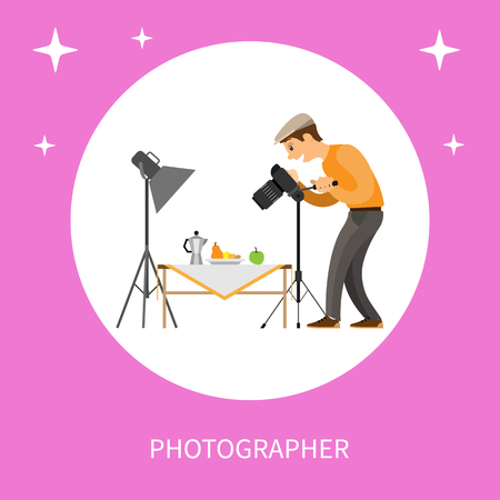 Photographer making shot of still life composition. Man with camera taking photo, teapot near fruits on table under spotlight vector isolated in circle