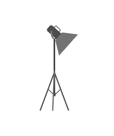 Light projector or spotlight on tripod for photo studio. Lamp with metal stand, equipment of professional photographers vector illustration isolated. Illustration