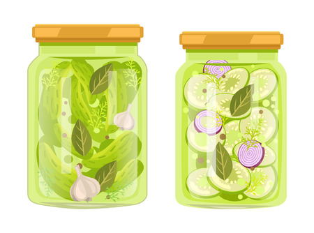 Pickles and canned vegetables poster. Vector glass bottles with cucumbers in marinate with garlic, sliced zucchini in brine with onion and pepper. Illustration