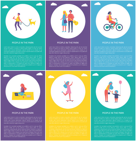 People in park having fun and entertaining isolated cartoon vector poster. Girl riding bike and on skateboard, boy walking dog, teen sit on blanket
