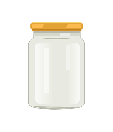 Empty glass jar with screw-cap vector illustration isolated. Big caddy for home preserved food. Empty container, canned pack, kitchenware utensil 向量圖像