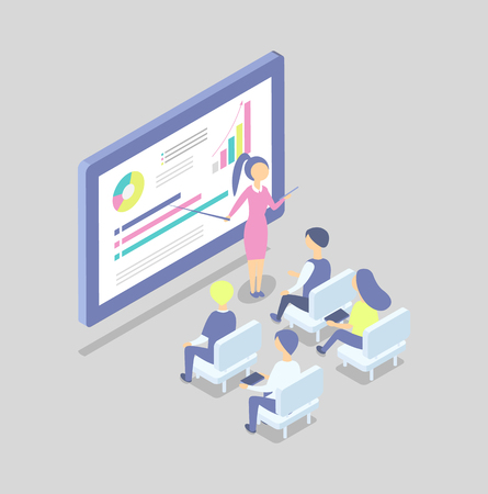 Woman at big digital screen with pointer shows presentation cartoon vector banner. Businesswoman present project to managers at conference isolated vector