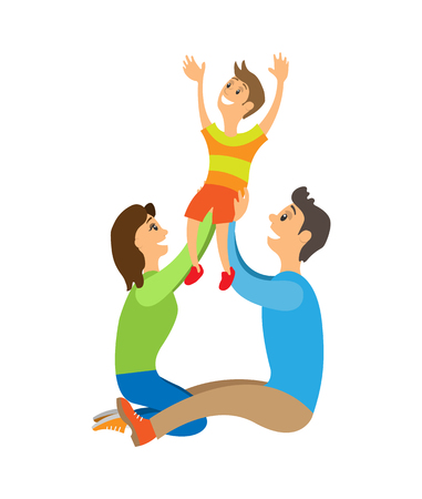 Happy family with child posing for photo. Mother and father holding son above head sitting on ground. Parents raising kid up vector illustration. Иллюстрация