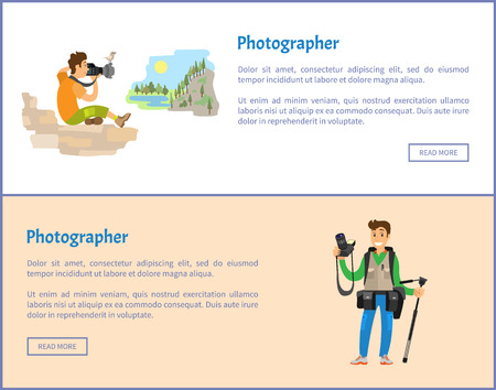 Photographers of landscape with tripod and backpack banners set. Man holding camera, sitting mountain or rock, photojournalists vector illustrations.