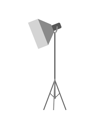 Studio professional light focusing spotlight, photographing equipment. Flashstand portable mounted flash speedlite flashgun isolated on white vector.