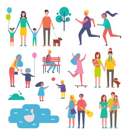 Children and Family Set Icons Vector Illustration Banco de Imagens
