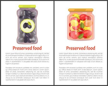 Preserved Vegetables Posters with Canned Food Banque d'images - 113273709