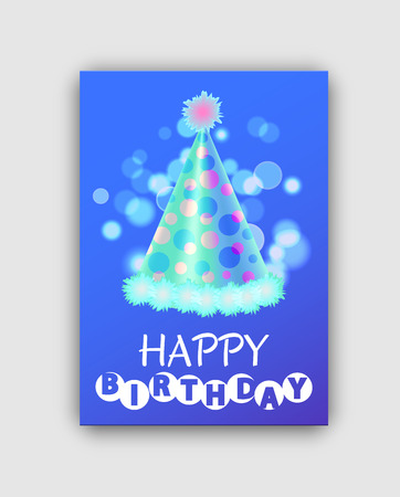 Happy Birthday Colorful Greeting Card with Hat