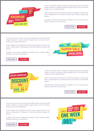Big sale, mega discount and hot price advertising phrases banner set with text. Special exclusive offer landing page sample for shops and stores e-commerce.