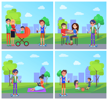 Students in park and people family with pram and baby in it set vector. Couple in love sitting on bench, woman reading book on blanket and young boy Illustration