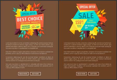Special offer and best choice discounts and sellout in autumn season. Posters set, with reductions premium quality products and business deal vector
