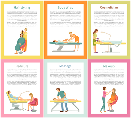 Hair styling and body wrap posters set with text sample and clients vector. Cosmetician and pedicurist, visagiste and masseur. Massage and pedicure