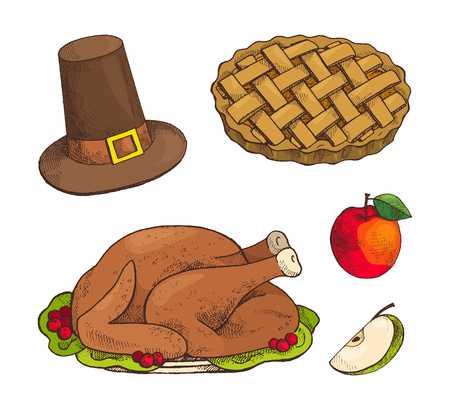 Turkey dish and baked sweet pie with apple set of isolated icons vector. Cake with decoration and hat with belt. Thanksgiving food and meal at plate
