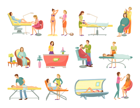Spa salon pedicure and barber shop procedures isolated icons vector. Receptionist on reception, massage and masseur, tanning process and cosmetician