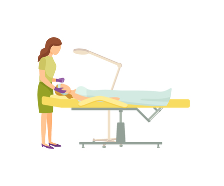 Spa procedure in beauty salon on armchair cartoon banner isolated. Cosmetician specialist in uniform and rubber gloves manipulate with head of client