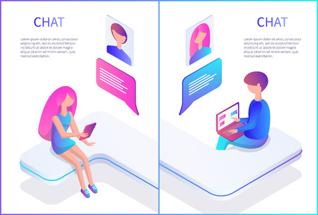 Chat Male and Female Posters Vector Illustration