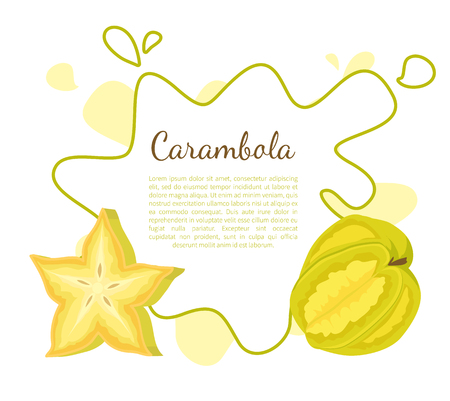 Carambola or Starfruit Exotic Fruit Vector Icon