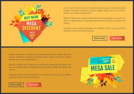Mega Discount Buy Now Set Vector Illustration