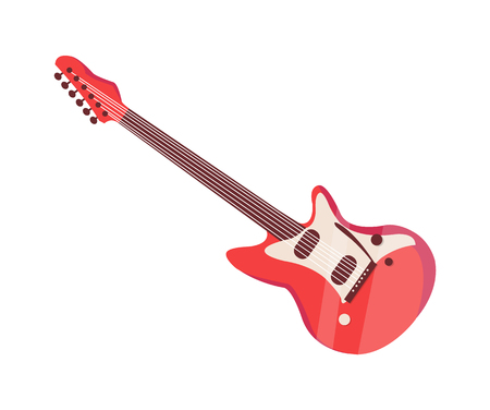 Electronic guitar musical instrument isolated icon vector. Object with strings to play at concerts and festival. Music item of guitarists of rock bands Stock Illustratie
