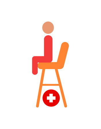 Seat of lifesaver on beach vector cartoon icon. Sitting person primitive shape, place for saver on height, red cross for medical help isolated badge