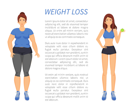 Weight loss people changing with healthy habits and sport in life. Obesity and fitness, sportive slim, fat woman comparison, poster with text vector