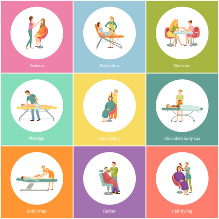 Makeup and visagiste depilation icons set vector. Pedicure nail treatment and hair styling, barber for man hairstyle. Massage and body wrap depilation