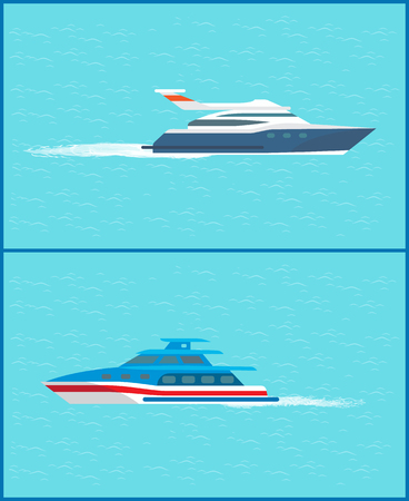 Water transport cruise liner for voyagers and sea trip vessel smaller in size set vector. Motor engine of ship transporting people to destinations